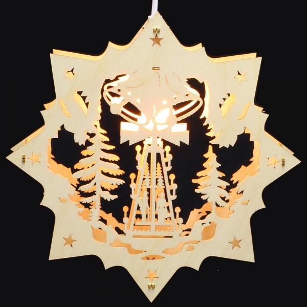 Fensterbild Erzgebirge beleuchtet - Motiv Weihnachtspyramide - 27cm