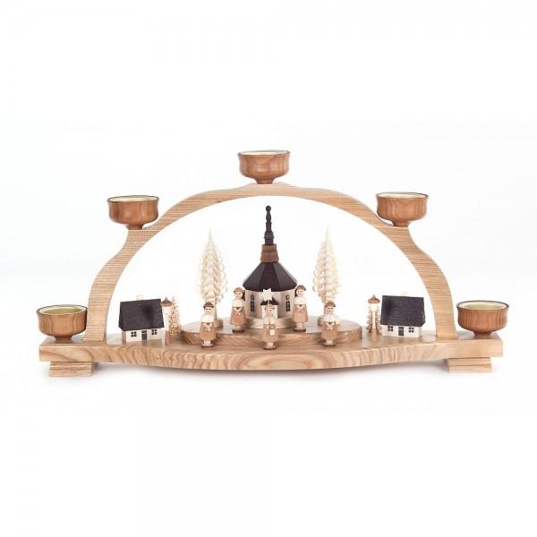 Dregeno Erzgebirge - Schwibbogen mit Seiffener Kirche und Kurrende für Teelichter - 48cm
