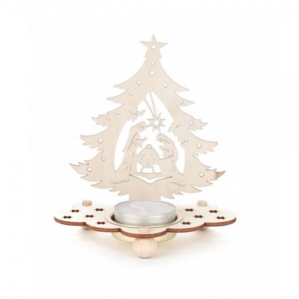 Dregeno Erzgebirge - Teelichthalter Baum Motiv Christi Geburt - 12cm