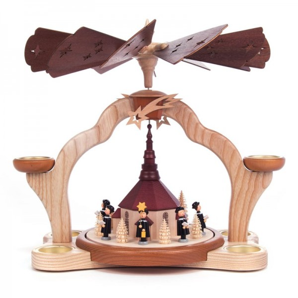 Dregeno Erzgebirge - Pyramide mit Seiffener Kirche und Kurrendesängern, für Teelichter