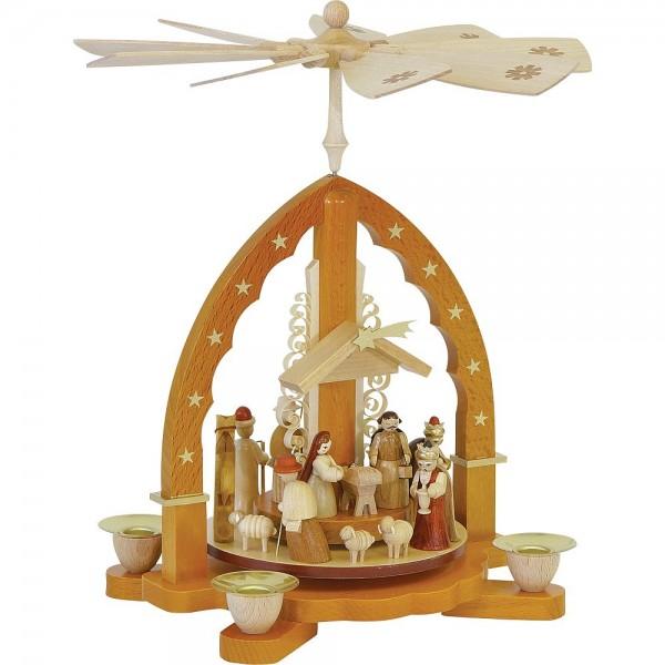Richard Glässer Erzgebirgspyramide Christi Geburt natur 27cm