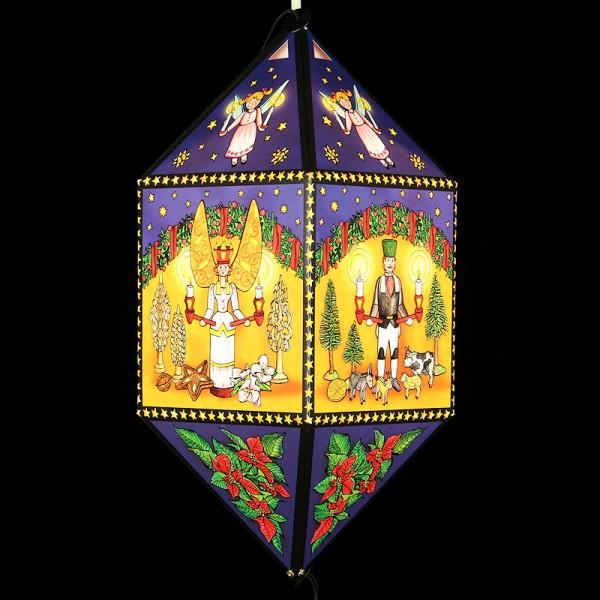 Erzgebirgische Weihnachtslaterne Engel und Bergmann II