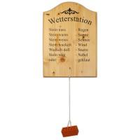 Wetterstation - Holzbrett bedruckt zum Aufhängen 28x40cm - mit echten Ziegelstein