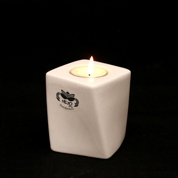 Restposten - Keramik Kerzenhalter Samba, Weiß 7 x 7 x 8,5 cm