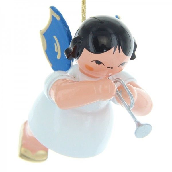 Uhlig Schwebeengel mit Piccolotrompete, blaue Flügel, handbemalt