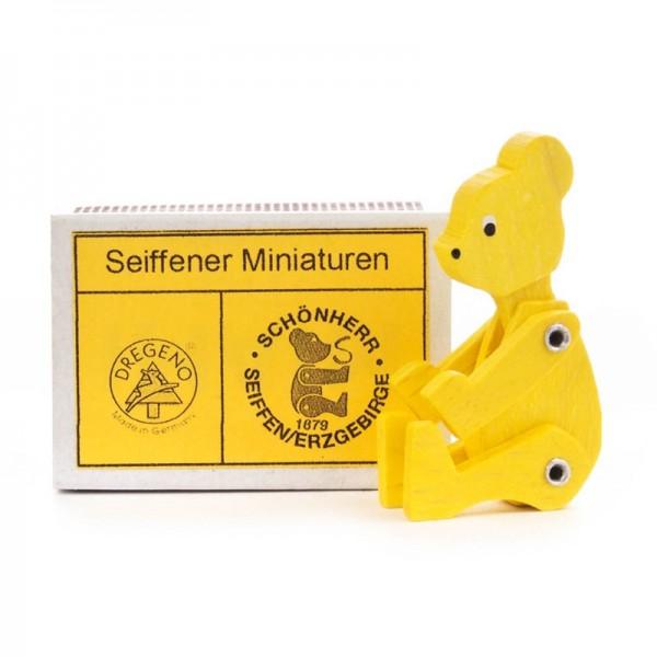 Dregeno Erzgebirge - Miniatur-Zündholzschachtel mit Bär, gelb, beweglich