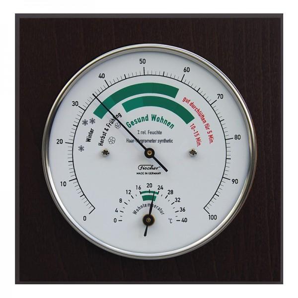 Fischer Life-Serie Wohnklima-Hygrometer mit Thermometer im Holzgehäuse