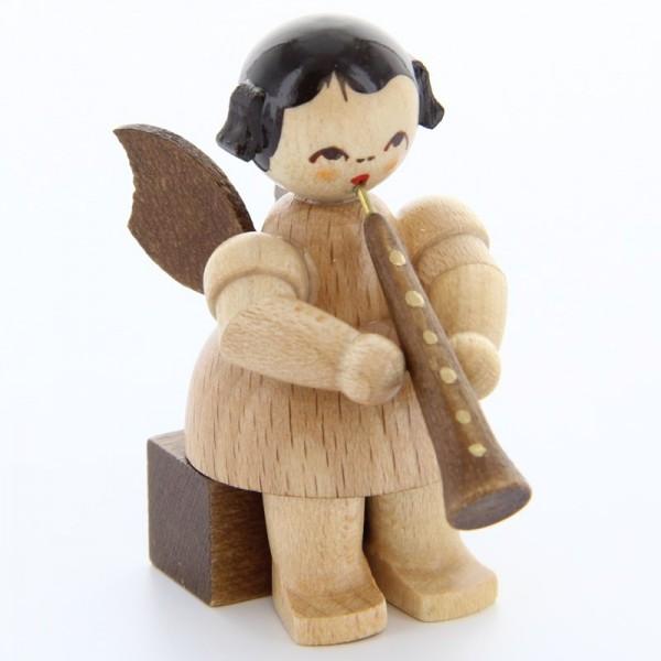 Uhlig Engel sitzend mit Oboe, natur, handbemalt