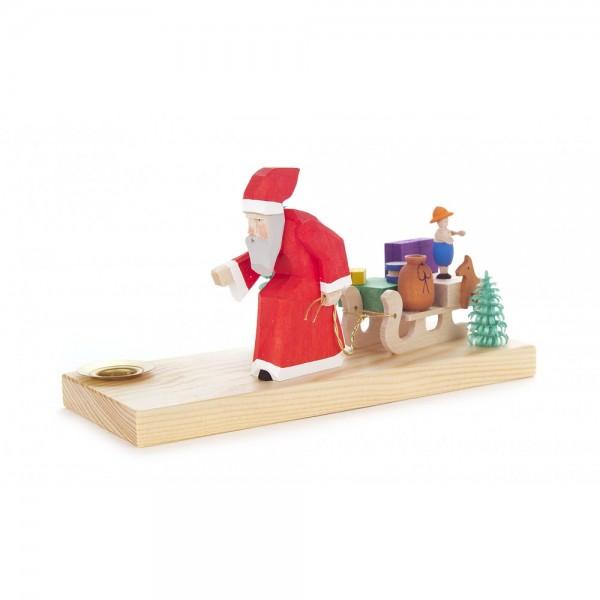 Dregeno Erzgebirge - Schnitzerei mit Lichtertülle - Weihnachtsmann mit Schlitten - 8,5cm