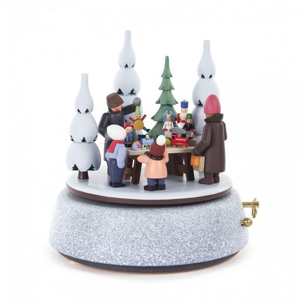 Dregeno Erzgebirge - Spieldose Weihnachtsmarkt, 28-stimmiges Spielwerk