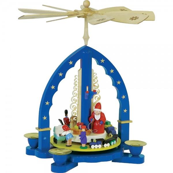 Richard Glässer Erzgebirgspyramide Weihnachtsbescherung blau 27cm
