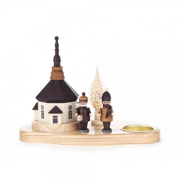 Dregeno Erzgebirge - Teelichthalter Seiffener Kirche und Laternenkinder - 13cm