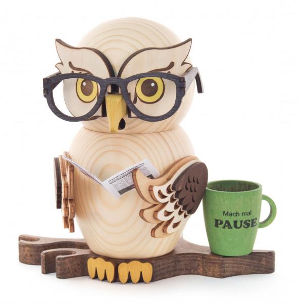 Dregeno Erzgebirge - Räucherfigur Eule mit Brille