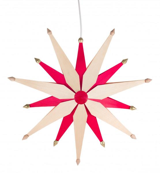 Dregeno Erzgebirge - Weihnachtsstern doppelt natur/rot, elektr. Beleuchtung