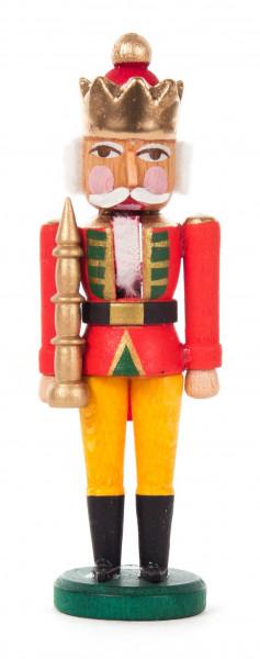 Dregeno Erzgebirge - Mini-Nussknacker König rot-gelb, 8cm