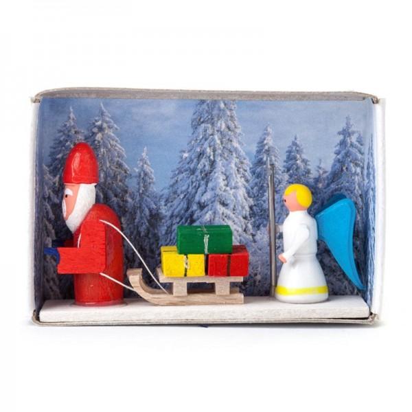 Dregeno Erzgebirge - Miniatur-Zündholzschachtel Weihnachtsmann mit Christkind