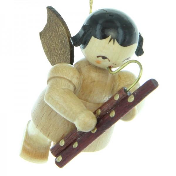 Uhlig Engel schwebend mit Fagott , natur, handbemalt