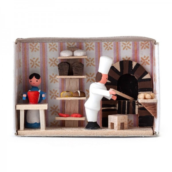 Dregeno Erzgebirge - Miniatur-Zündholzschachtel Bäckerei