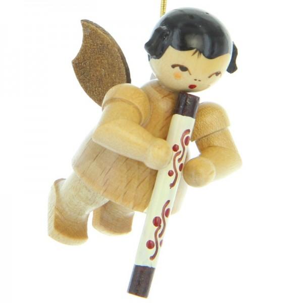 Uhlig Engel schwebend mit Didgeridoo, natur, handbemalt