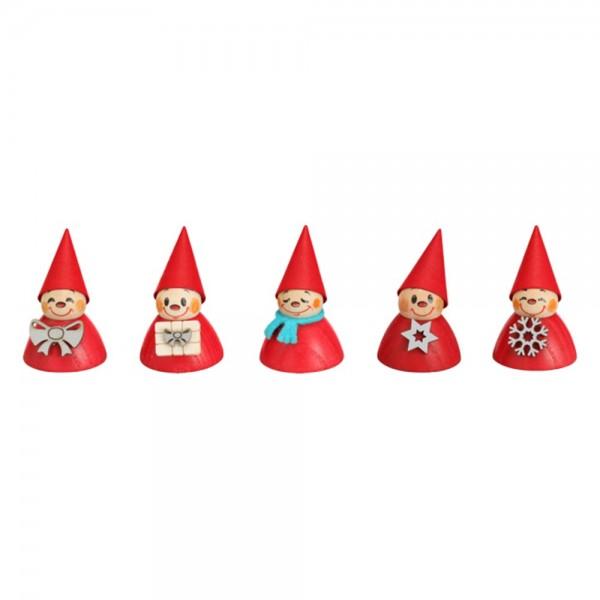Seiffener Volkskunst Neuheit - Wippelfiguren Weihnachtswippel, 5er Satz