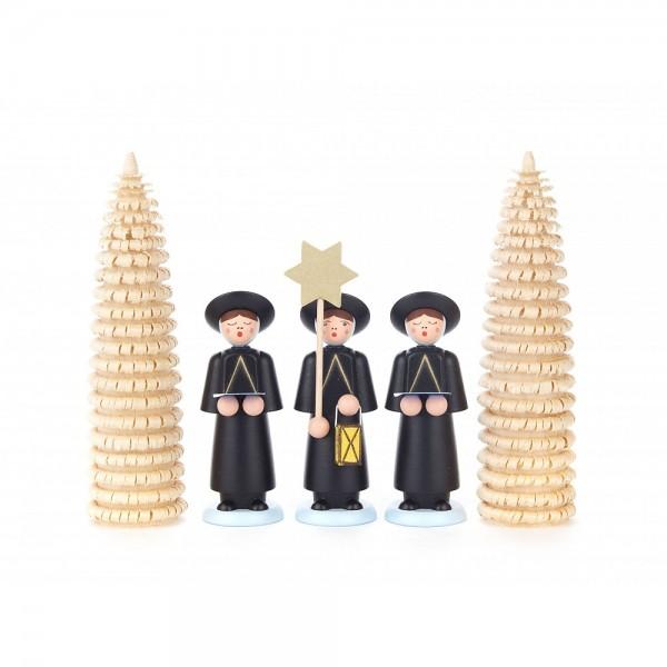Dregeno Erzgebirge - Kurrendefiguren mit Ringelbäumchen, 5er-Gruppe, schwarz - 12cm