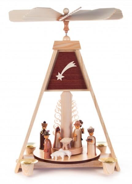 Dregeno Erzgebirge - Pyramide mit Christi Geburt, für Kerzen Ø 14mm