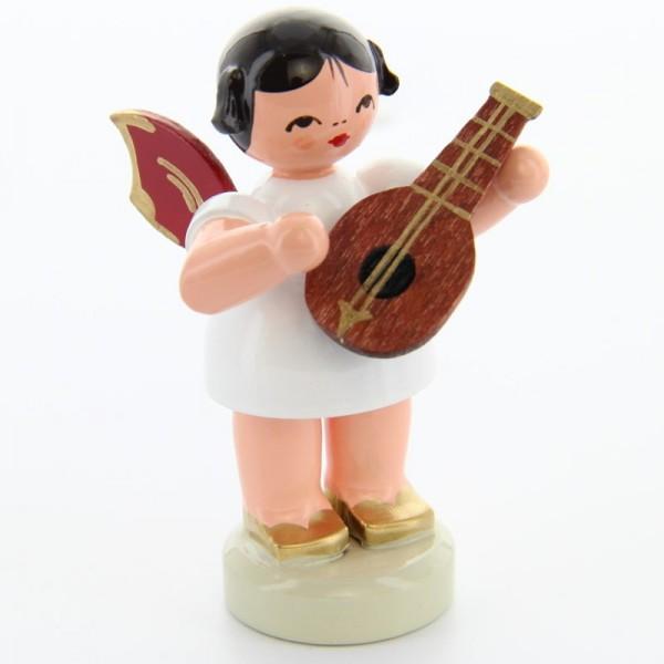 Uhlig Engel stehend mit Mandoline, rote Flügel, handbemalt