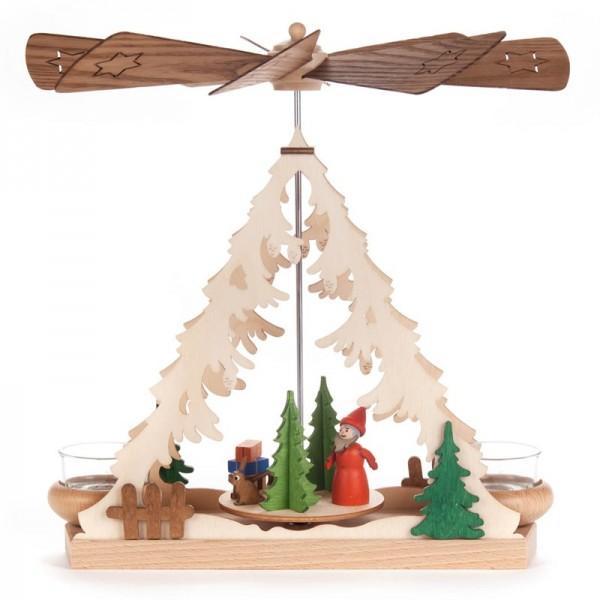 Dregeno Erzgebirge - Tischpyramide mit Weihnachtsmann, für Teelichter