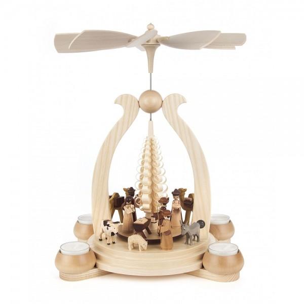 Dregeno Erzgebirge - Pyramide Christi Geburt für Teelichter - 34cm