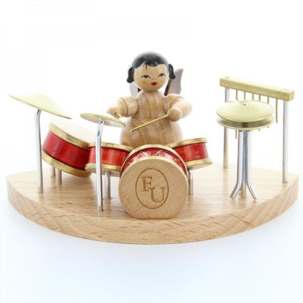 Uhlig Engel sitzend am Schlagzeug, natur, handbemalt