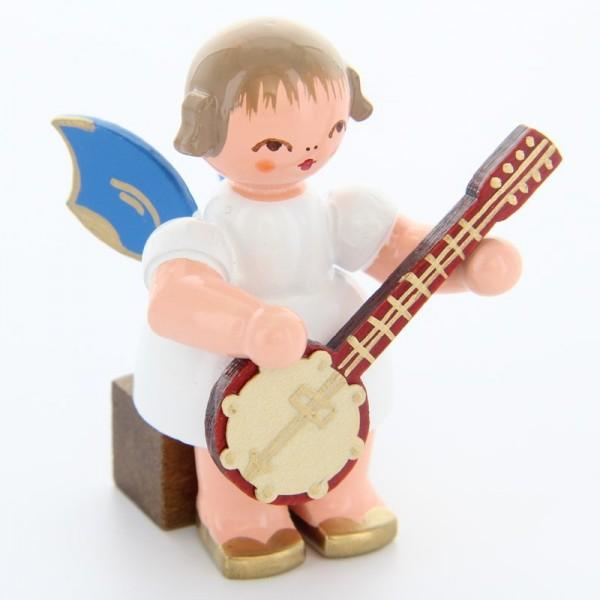 Uhlig Engel sitzend mit Banjo, blaue Flügel, handbemalt
