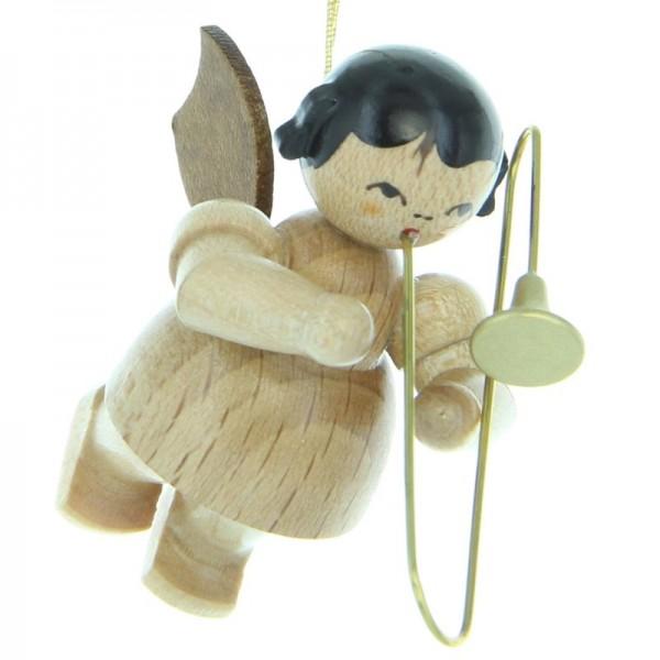 Uhlig Engel schwebend mit Posaune , natur, handbemalt