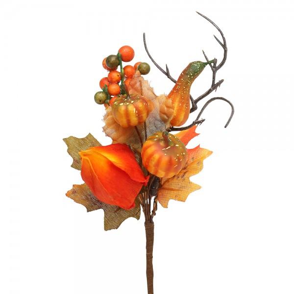 Restposten - Plastik Herbst-Deko-Pic Physalis 18 x 8 x 5,5 cm