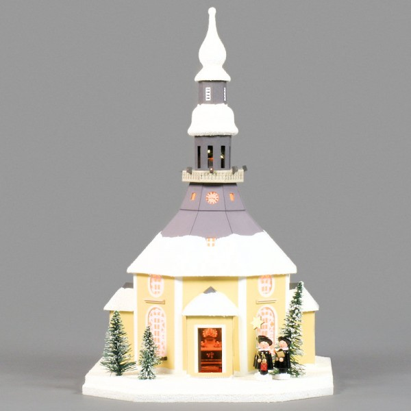 Dregeno Erzgebirge - Lichterhaus Seiffener Kirche aus Pappe mit Kurrende, beleuchtet - 42cm