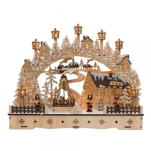Restposten - Holz Schwibbogen Dorfhaus verschneit mit bewegter Weihnachtspyramide & Bergmannfiguren (Laserholz) 45 x 12 x 35 cm Batteriebetrieb AA, in