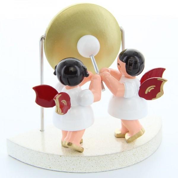 Uhlig Engel stehend am großen Gong, rote Flügel, handbemalt