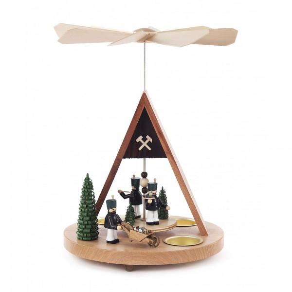 Dregeno Erzgebirge - Pyramide mit Bergmännern und grünen Bäumen, für Teelichter
