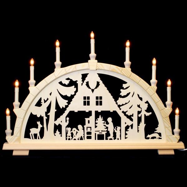 Holzkunst Niederle - Schwibbogen 9-flammig - Waldhaus Motiv