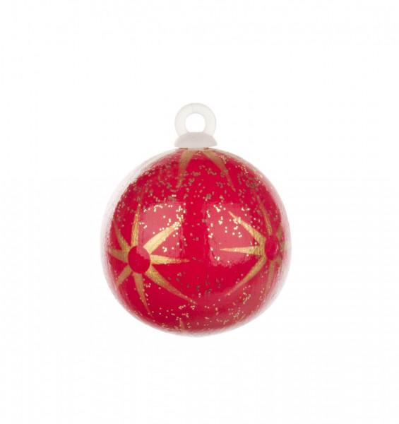 Dregeno Erzgebirge - Weihnachtsbaumkugel mit Sternen rot, 3,0cm (ohne Faden)