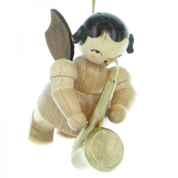Uhlig Engel schwebend mit Saxophon, natur, handbemalt