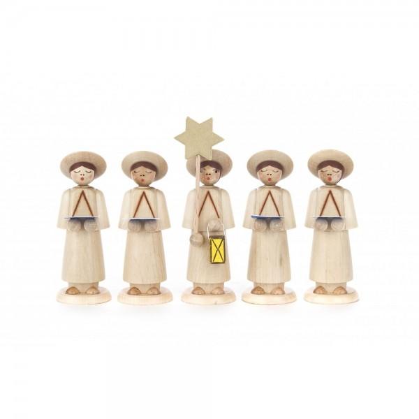 Dregeno Erzgebirge - Kurrendefiguren mit Sternträger und 4 Sänger mit Buch, natur - 9cm