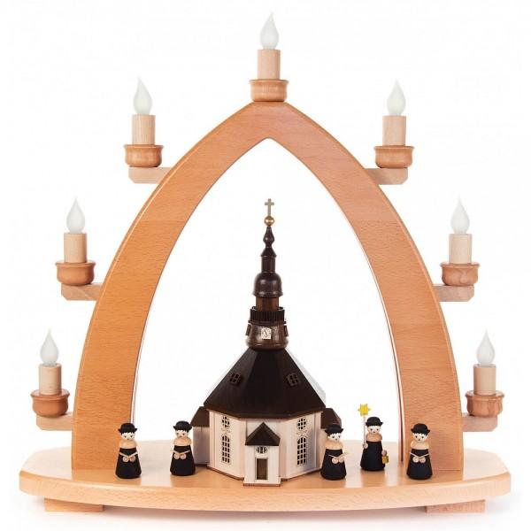 Dregeno Erzgebirge - Schwibbogen Seiffener Kirche elektrisch beleuchtet