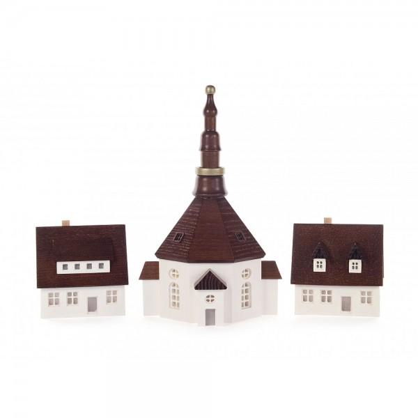 Dregeno Erzgebirge - Seiffener Kirche und 2 Häuser, groß, von innen beleuchtbar (ohne Leuchtmittel)