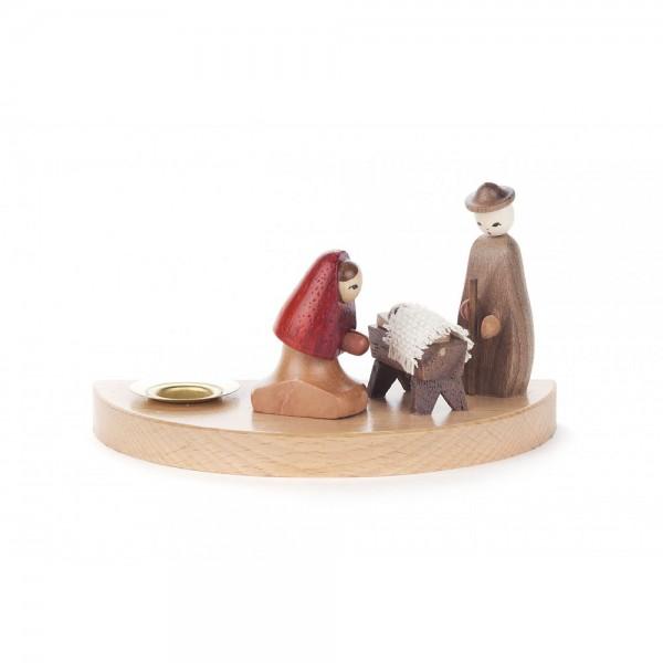 Dregeno Erzgebirge - Kerzenhalter mit Christi Geburt - 6cm