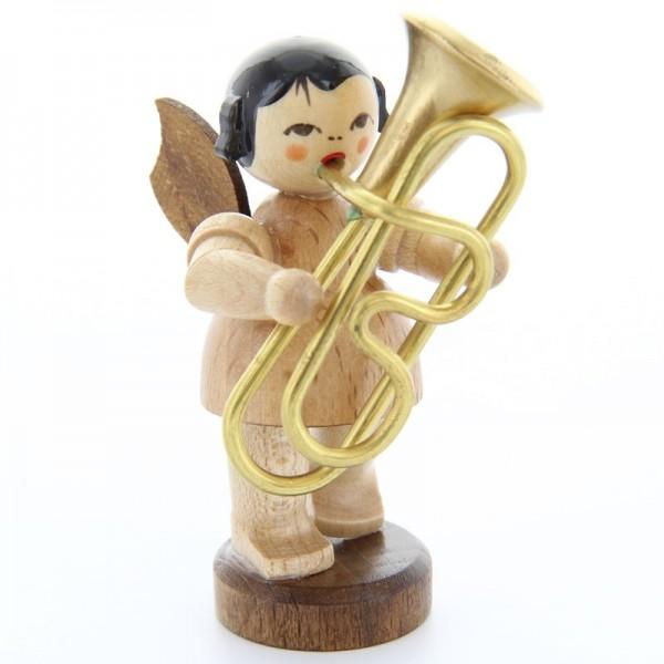 Uhlig Engel stehend mit Tuba, natur, handbemalt