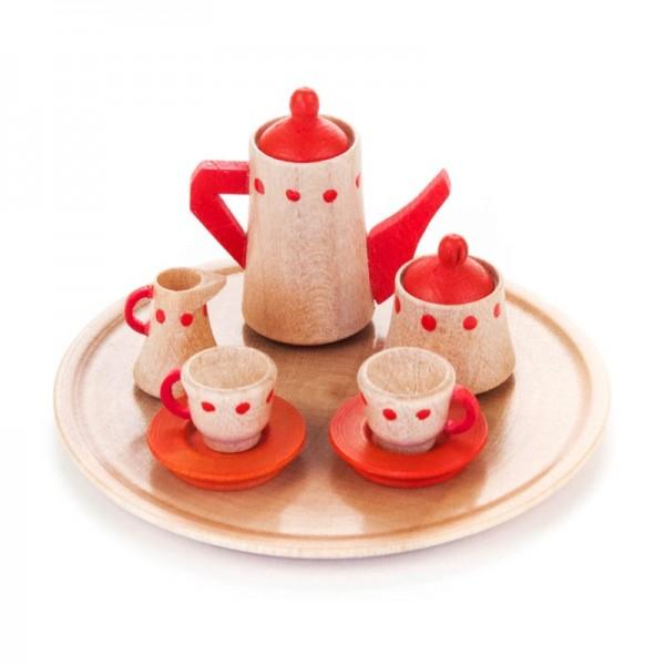 Dregeno Erzgebirge - Miniatur-Geschirrsets für Puppenstube Kaffeeservice rund rote Punkte, 10-teilig