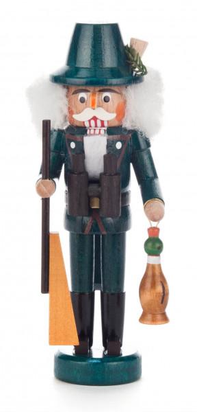Dregeno Erzgebirge - Nussknacker Jäger grün mit Gewehr und Ente, 14cm