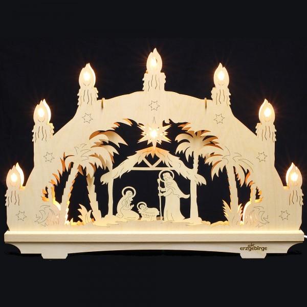 Lichterbogen aus Buchenholz, doppelt - Echt Erzgebirge - Motiv Christi Geburt