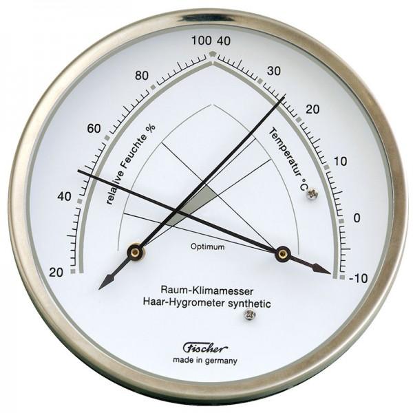 Fischer Raumklimamesser mit Hygrometer und Thermometer - Edelstahl 130mm