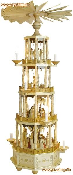 Richard Glässer Erzgebirgspyramide mit gedrechselten Säulen elektrisch 184cm
